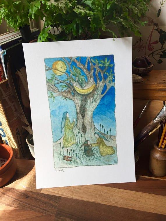 Oakbaby Watercolour A4 Print