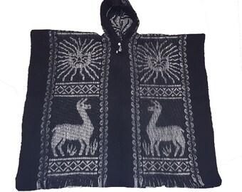 Hand made 100% wool Inca sun poncho charcoal