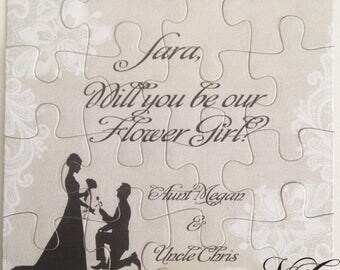 Flower girl proposal puzzle, Ask Ring Bearer puzzle invitation , Will you be our Usher card, Ask Sign Bearer, Jr. Bridesmaid gift - Unisex