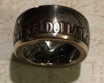 "Coin ring hand crafted from Dwight ""Ike"" Eisenour silver dollar"