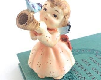 Lefton Angel Figurine - Lefton Figurine - Lefton Japan Angel Figurine - Lefton Angel Statue - Lefton Angel with Horn -Lefton Angel with Bird