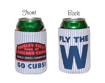 Chicago Cubs World Series Champions Neoprene Slip On 12oz. Can Insulator, Can Hugger, Can Cooler, Fly the W, Baseball Can Cooler
