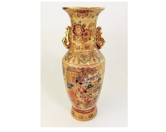 Vintage Royal Satsuma Gold Painted Figural Vase, Asian Pottery