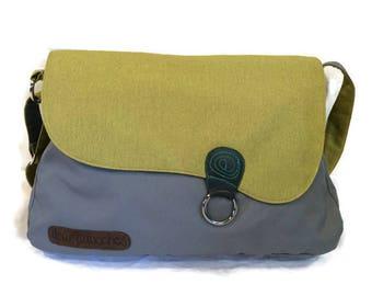 gray and green messenger bag, large messenger bag, cross body bag, diaper bag, school bag, lap top bag, travel bag, large tote bag, W-E bag