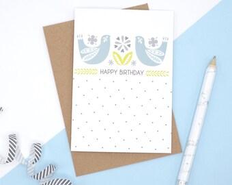 Birthday Card // Happy Birthday Card // Birthday Card for Her // Birthday Card with Birds // Polka Dot Birthday Card