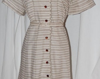 vintage day dress, 60s ann taylor dress, button front, large size, short sleeve dress, striped, brown and white