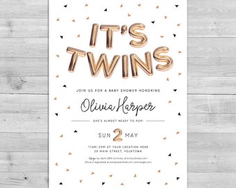 Twins Baby Shower Invites, Baby Shower Invitation Twins Baby Shower Invitation Twins Gender Neutral Baby Shower Invitations Twins Coed Baby