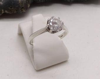 Vintage Silver CZ Solitaire Engagement Ring Pretty Crown Gallery K 1/2 US 5 3/8 Gift Boxed