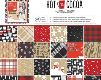 American Crafts Hot Cocoa Paper Collection - Hot Cocoa Paper - 12x12 - Card Stock Paper - Cardstock Paper -Christmas Paper Collection