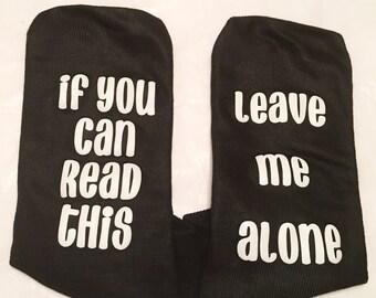 Leave me alone black womens ankle socks size 8-11