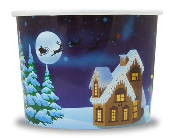 12 oz Santa Claus is Coming Paper Ice Cream Cups - Very Fast and Free Shipping! Frozen Dessert Supplies
