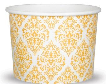 12 oz Elegant Gold Paper Ice Cream Cups - Premium High Quality Paper Cups - Beautiful Design - Very Fast Shipping! Frozen Dessert Supplies