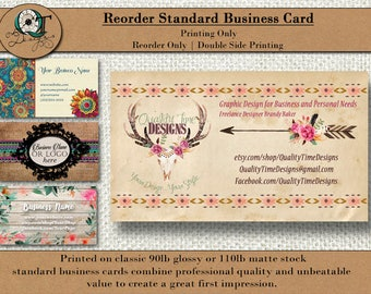 Standard Business Cards |  3.5x2 |Matte/Glossy | 90- 110 lb Card Stock|  Reorder discount | Double Side Printing