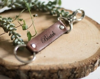 """Keychain leather """"Beeyatch"""" available 3 colors"""