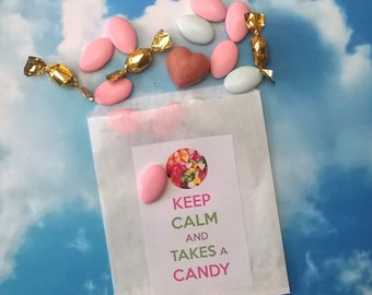 """10 paper bags for candy bar """"Keep calm and takes a candy"""""""