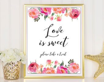 Love Is Sweet Sign, Reception Sign, Take A Treat Sign, Wedding Printable, Dessert Table Sign, Love Is Sweet, Wedding Printable, Wedding