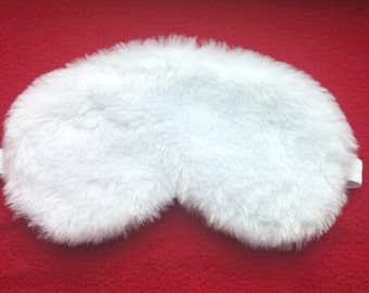 White furry Sleep mask / Eye mask / Gift for her or him / Travel gift / Sleeping mask / Womens sleep mask / Mens sleep mask /Travellers gift