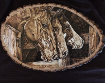 Handmade Wood Burning of Horses Looking Over a Fence