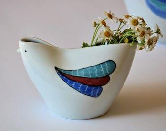Handmade Bud Vase, Ceramic Bird Vase, Porcelain Bud Vase, Pottery Vase