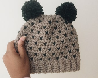 Teddy Bear Hat // Winter Hat with Heart Shapes For Babies, Toddler and Adults