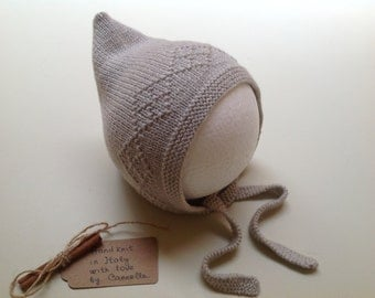 100% cashmere Baby and kid Bonnet Pixie hat  hand knit to order size from 0 months to 4 years