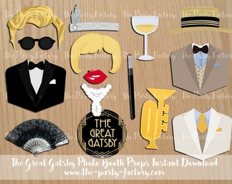 The Great Gatsby Photo Booth Props Instant Download, Digital File