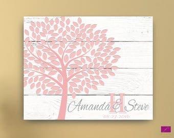 Wedding Guest Book Alternative canvas or poster, Wedding Signature Tree Guest book, Wedding guest book wooden background,signature tree idea