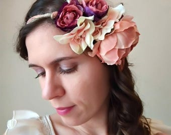 Flower wedding crown, bridal crown, hair wreath, rustic wedding, wedding crown, bridal flower crown, flower halo, spring wedding