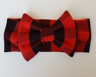 Buffalo Plaid Headband, Red and Black Buffalo Plaid Bow Headband