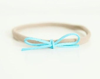 Turquoise Suede Bow headband for Newborn-24 months