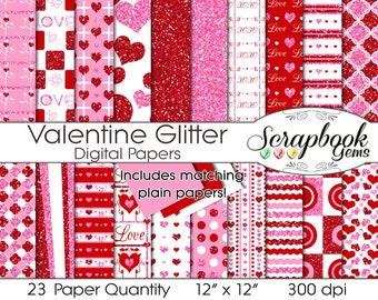 "Glitter Valentine Digital Papers, 23 Pieces, 12"" x 12"", High Quality JPEG files, Instant Download Commercial Use Scrapbook Glitter Pink Red"