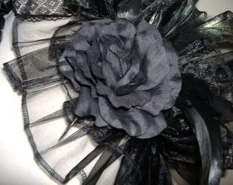 BLACK GOTHIC SHRUG, opera shrug, organza shrug, free rose brooch, steampunk stole, gothic cape, black ruffle collar, one size