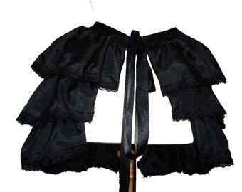 GOTHIC BLACK SATIN tie on bustle, burlesque bustle skirt,  victorian skirt,  steampunk busle skirt,  burlesque costume, s m l , plus size