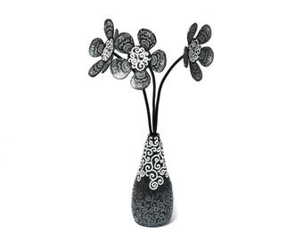 Polymer Clay Black and White Flower Arrangements, Fake Flowers in Vase, Faux Flowers in Vase, Artificial Flower Arrangement Flower Sculpture