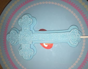 Cross fondant topper with stick