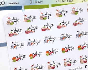Sushi night stickers, sushi planner stickers, Japanese food stickers, food stickers, dinner stickers, takeout stickers, kawaii stickers