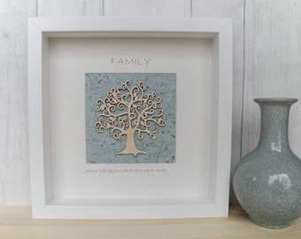 Personalised Tree of Life Picture, Hand Painted Tree of Life Wall Art, Tree of Life Box Frame, Duckegg wall art, choice of tree design