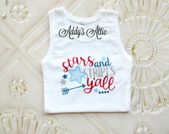 4th of July Tank Top, Glitter Monogram Shirt, 4th of July Outfit