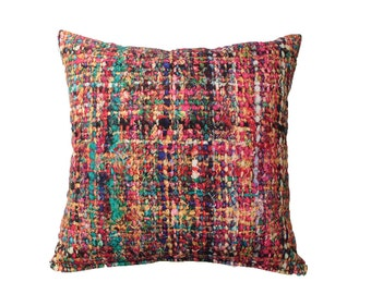 Multicolor Fuchsia Pillow Cover Thread Yarn
