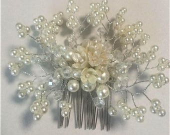Free Shipping Hair Clip Made Of Cold Porcelain Handmade Quality  Wedding Anniversary Flowers and Artificial Pearls and Crystals Accessory