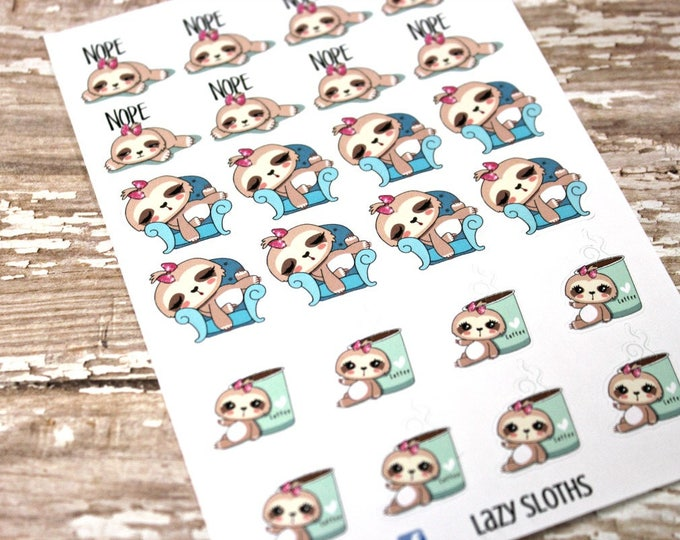 Sloth Stickers - Lazy Sloth Planner Stickers - Character Stickers -Nope Stickers - Sleepy Sloth - Coffee Sloth - Lazy Sloth - Cute Sloth