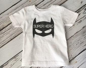 Batman Super Hero Shirt - Baby or Toddler Shirt - Screen Print Super Hero - Batman Shirt - Baby Boy Batman Shirt