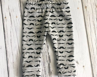 Leggings, Mustache Print, Baby Pants, Baby Clothing, Heather Gray and Black Mustaches, Baby Boy Leggings, Baby Boy Mustache Pants
