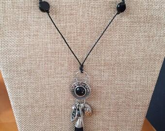 Tassel necklace, Long necklace, Bohemian charm necklace, Knotted cord tassel necklace, Tassel beaded necklace