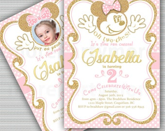 Minnie Mouse Invitation, Oh Toodles Invitation, Any Age Photo Birthday Invitation,  Gold and pink, Girls Party Toodles, Gold Glitter, Polka