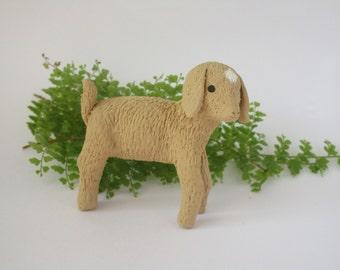 Polymer Clay Goat Kid, Baby Goat Sculpture, Realistic Handmade Figurine, Goat Art, Gift for Farmer, Miniature Animals, Terrarium Accessory