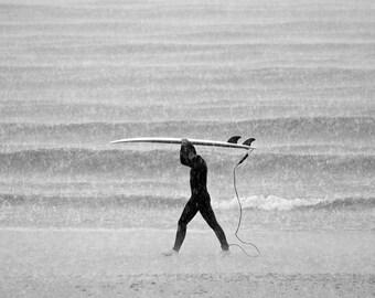 MONSOON SURFER. Surf Print, Black and White, Monochrome Print, Surfing, Bournemouth, Photographic Print