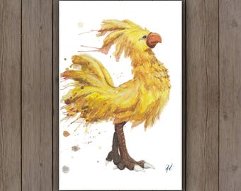Watercolour Art Print - Chocobo Final Fantasy / Ostrich Rooster Bird / Splatter Handpainted Watercolor Painting / Geek Gift