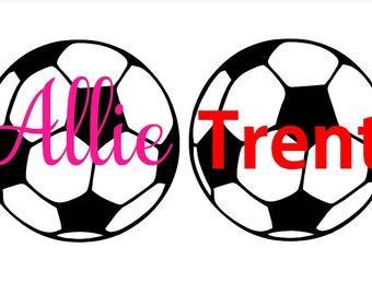 Soccer Ball & Custom Name Custom Vinyl Decal  Yeti Decal  Ipad Decal  Window Decal    Vinyl Sticker  Boy / Girl