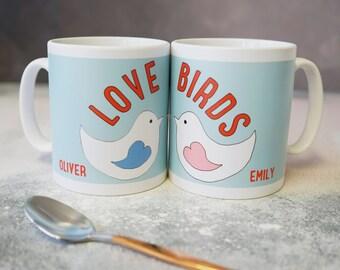 Love Birds - Love Birds Mug - Personalised Love Birds Mug - Valentines mug